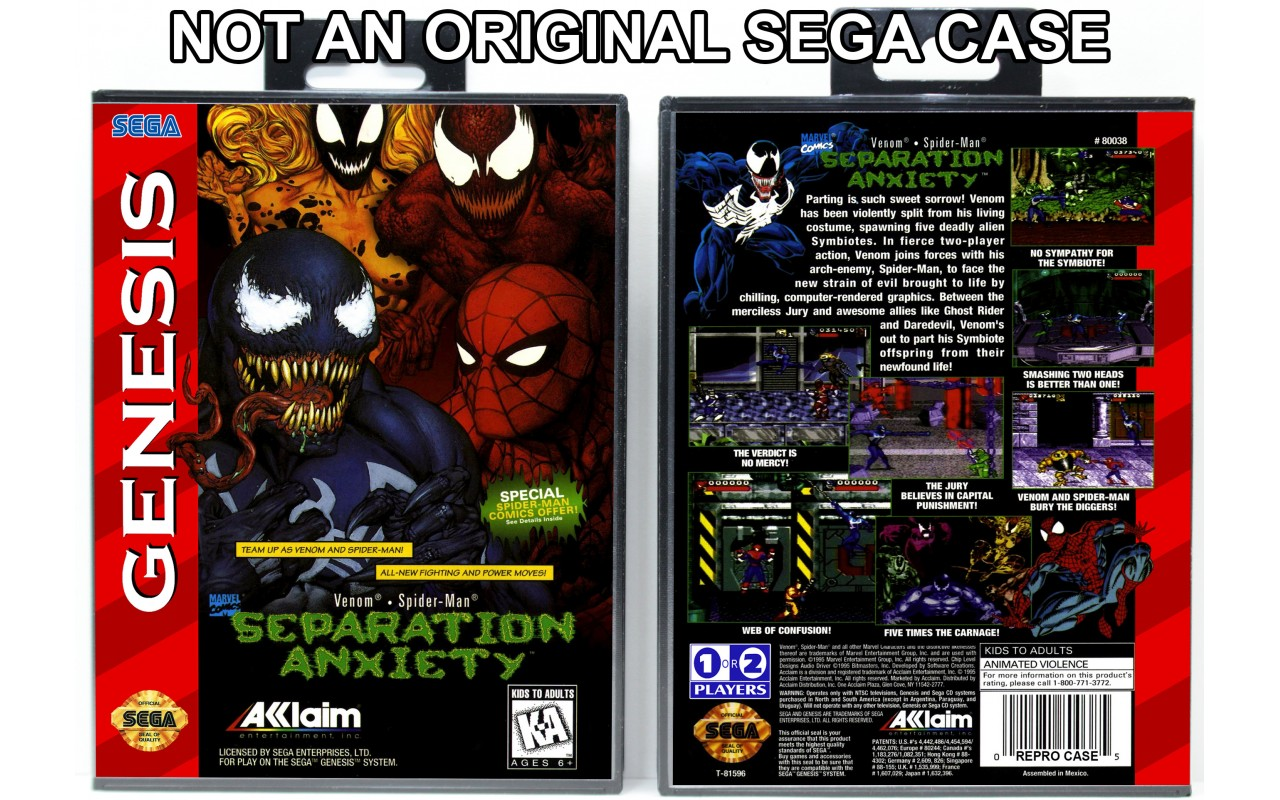 Spider Man Venom Separation Anxiety Sega Genesis Custom Game Cases For Retro Games By Gaming Relics