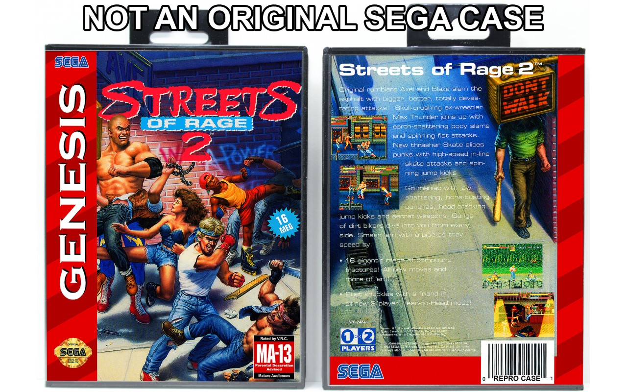Streets Of Rage 2 Sega Genesis Custom Game Cases For Retro