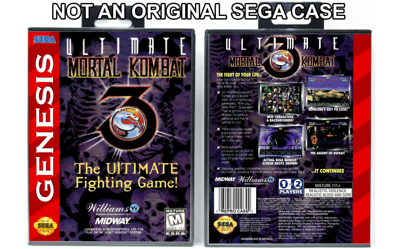 Ultimate Mortal Kombat 3 Sega Genesis Custom Game Cases For