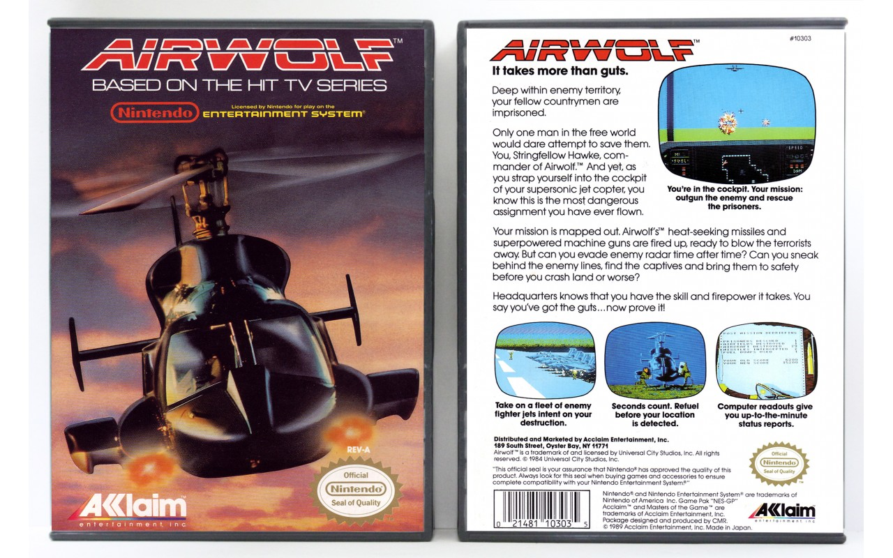 Airwolf - Nintendo NES - Custom Game Cases for Retro Games ...