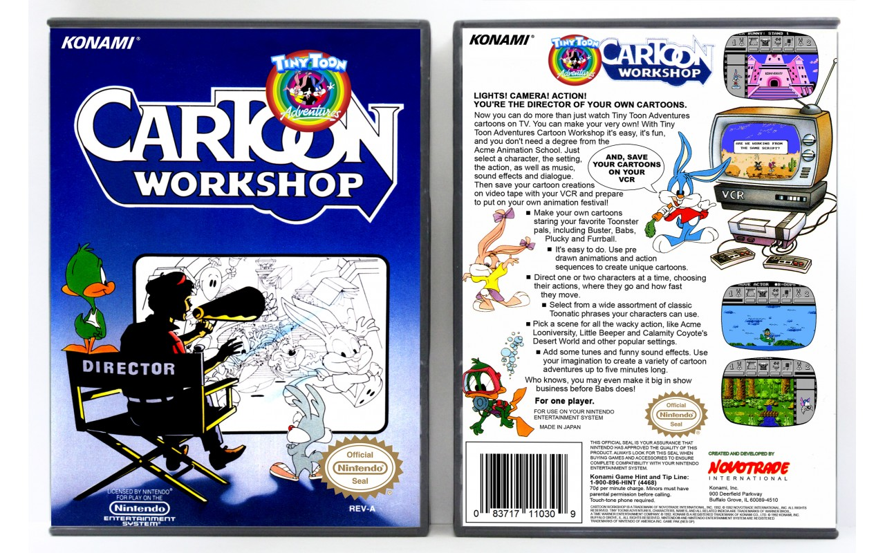 Tiny Toon Adventures Cartoon Workshop Nintendo Nes Custom Game Cases For Retro Games By Gaming Relics
