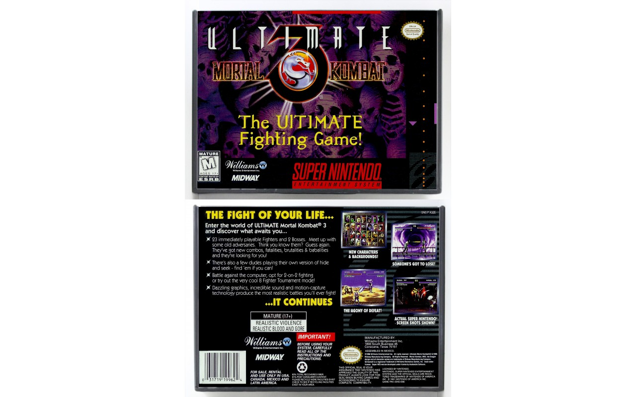 Ultimate Mortal Kombat 3 Retail Style Custom Game Cases For